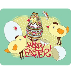 hand draw ornate easter greeting card vector image