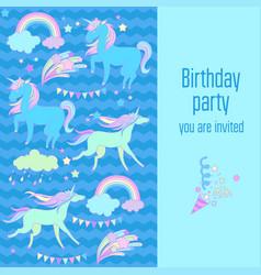 happy birthday holiday card with rainbow unicorn vector image