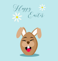 Happy easter chocolate egg rabbit greeting card vector