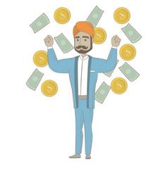 Happy hindu busiessman standing under money rain vector