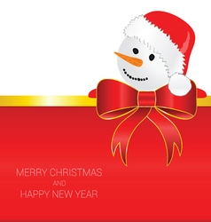 happy new year with snowman red vector image