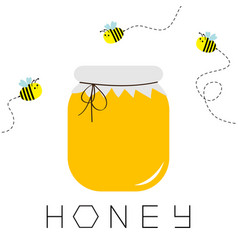 Honey jar pot icon honeycomb text beehive vector