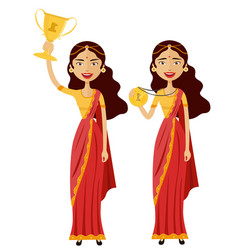 Indian woman winner smiling lady raising trophy vector