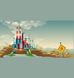 Industrial pollution environment cartoon vector