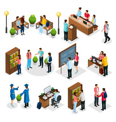Isometric students in university set vector