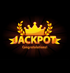 jackpot gold casino lotto label with crown on vector image