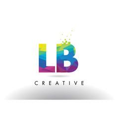 Lb l b colorful letter origami triangles design vector