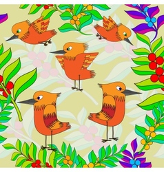 Little birds sing songs Seamless texture vector image