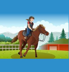 little girl riding a horse vector image
