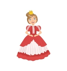 Little Girl With High Hairdo Dressed As Fairy Tale vector