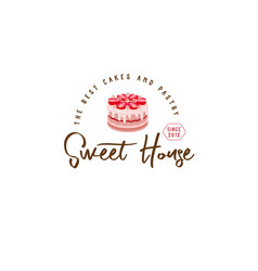 Logo cake house strawberry vector