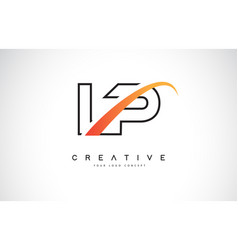 Lp l p swoosh letter logo design with modern vector