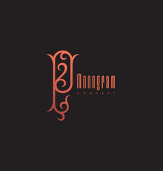 luxury monogram p vector image