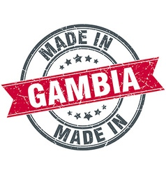 Made in Gambia red round vintage stamp vector