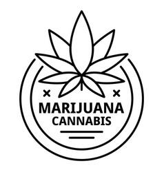 marijuana symbol logo outline style vector image