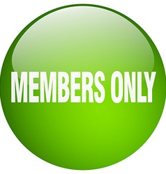 Members only green round gel isolated push button vector