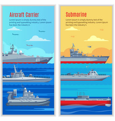 Military ships vertical banners vector