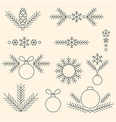 Minimalistic linear new year decorations set vector