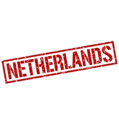 Netherlands red square stamp vector image