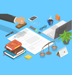 notary service legal advice 3d isometric flat vector image