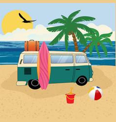 old retro classic traveling van on beach vector image