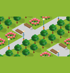 park city with trees lawns vector image