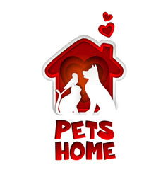 pets home logo paper cut design template vector image