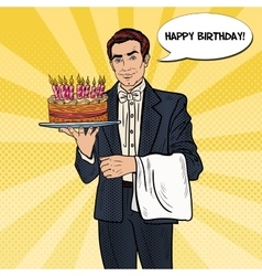 Pop Art Waiter Holding Tray with Birthday Cake vector image
