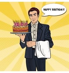 Pop Art Waiter Holding Tray with Birthday Cake vector