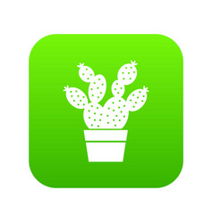 Prickly pear icon green vector