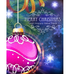 Purple Christmas ball with fir branches and tinsel vector
