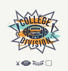 Rugby emblem college division and design elements vector image