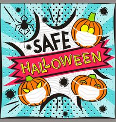 Safe halloween antivirus banner in popart style vector