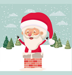 santa claus with chimney in snowscape vector image