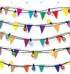 Seamless string christmas lights isolated on vector