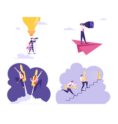 Set business people flying on air balloon vector