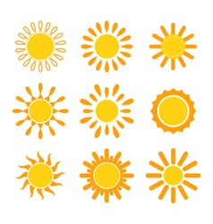 Set of suns Sun icons vector