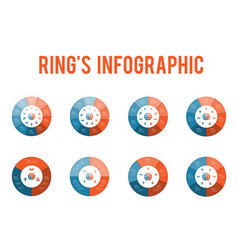 set rings infographics isolated over white vector image