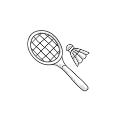 Shuttlecock and badminton racket sketch icon vector image