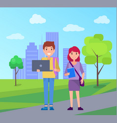smiling students on background of skyscrapers vector image