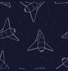 spaceship seamless pattern shuttle vector image