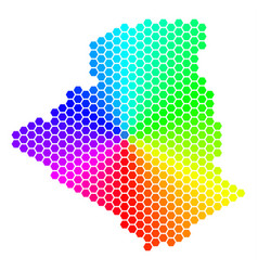 Spectrum hexagon algeria map vector