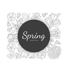 spring banner template with wild flowers vector image