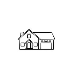 suburban house hand drawn outline doodle icon vector image