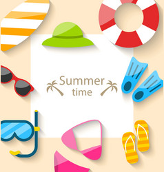 Summer traveling card with beach accessories vector
