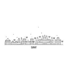 surat skyline gujarat india city buildings vector image