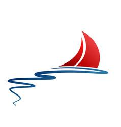 Symbol sailing vessel in sea vector