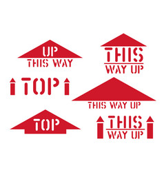 this way up top retro sticker box sign vector image