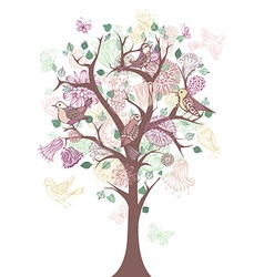 Tree with flowers and birds vector image
