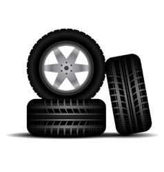 Truck tire tracks with wheels and shadow vector